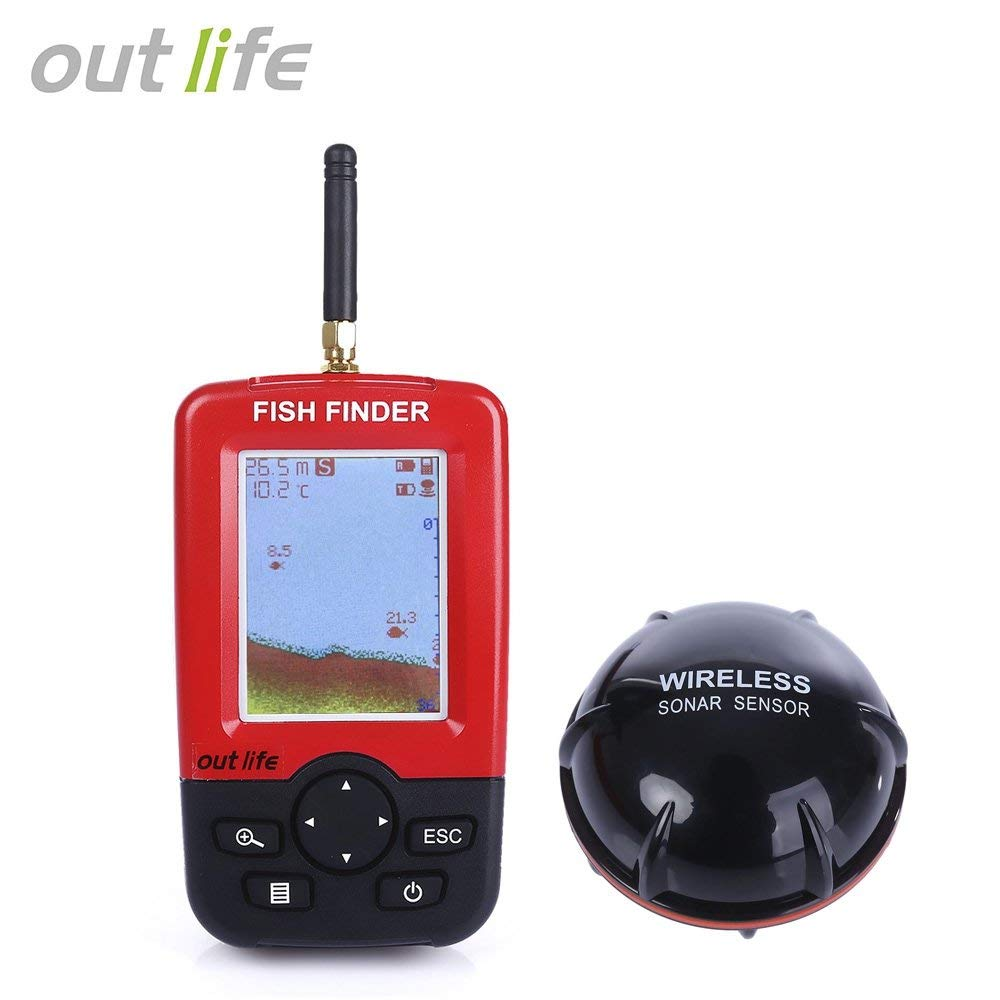 Outlife Fish Finder Fish Finder, Wireless & Rechargeable Sonar Sensor Fishfinder, LCD Display Smart Portable Deeper, 100m Dot Matrix 45m Range Colorized .jpg