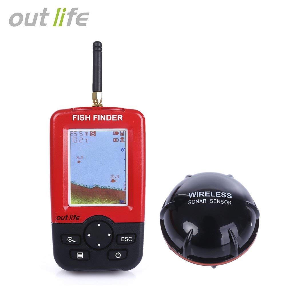 Outlife Fish Finder Fish Finder, Wireless & Rechargeable Sonar Sensor Fishfinder, LCD Display Smart Portable Deeper, 100m Dot Matrix 45m Range Colorized.jpg