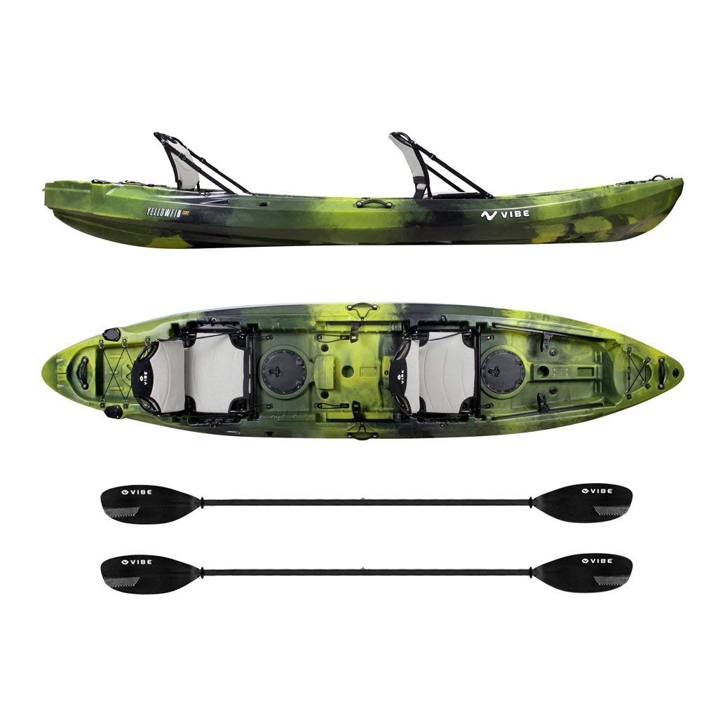 Vibe Kayaks Yellowfin 130T 13 -foot Tandem Sit On Top Kayak 2 or 3 Person Package